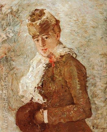 Winter Woman with a Muff 1880 - Berthe Morisot reproduction oil painting