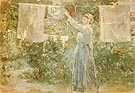 Peasant Hanging the Washing 1881 - Berthe Morisot reproduction oil painting