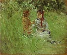 Woman and Child in the Garden at Bougival 1882 - Berthe Morisot reproduction oil painting