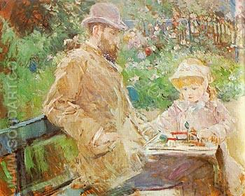 Eugene Manet and his Daughter at Bougival 1881 - Berthe Morisot reproduction oil painting