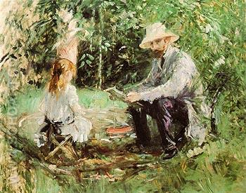 Eugene Manet and his Daughter in the Garden 1883 - Berthe Morisot reproduction oil painting