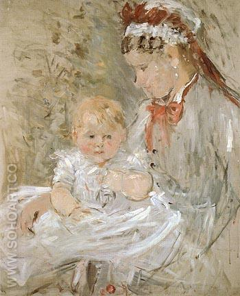 Julie with Her Nurse 1880 - Berthe Morisot reproduction oil painting