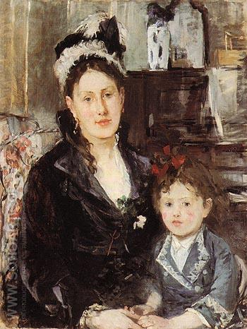 Portrait of Mme Boursier and her Daughter 1874 - Berthe Morisot reproduction oil painting