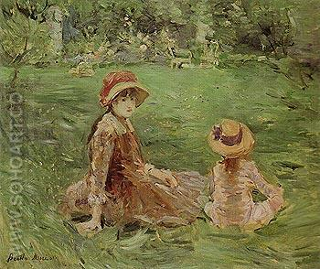In the Garden Maurecourt 1884 - Berthe Morisot reproduction oil painting