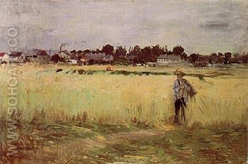 In the Wheatfield 1875 - Berthe Morisot reproduction oil painting