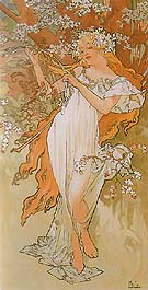 Spring (from the Seasons series) 1896 - Alphonse Mucha reproduction oil painting