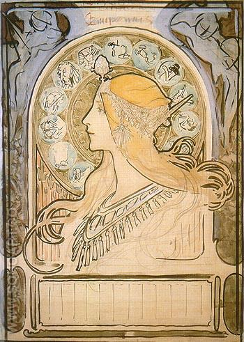 Study for Zodiac 1896 - Alphonse Mucha reproduction oil painting