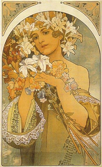 Flower 1897 - Alphonse Mucha reproduction oil painting