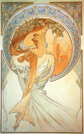 Poetry 1896 - Alphonse Mucha reproduction oil painting