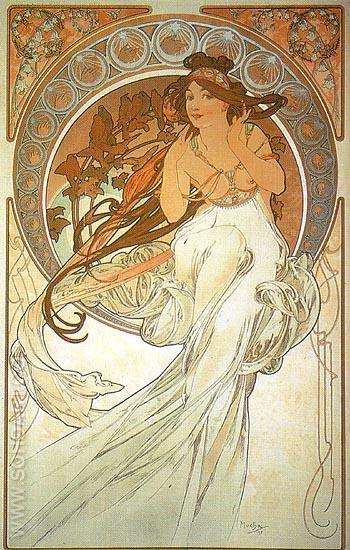 Music 1898 - Alphonse Mucha reproduction oil painting