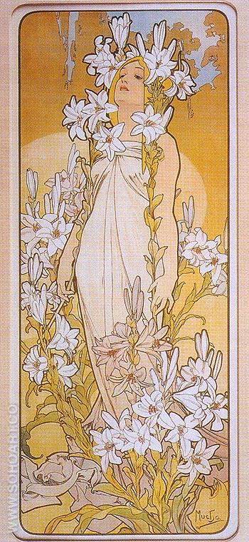Lily 1898 - Alphonse Mucha reproduction oil painting