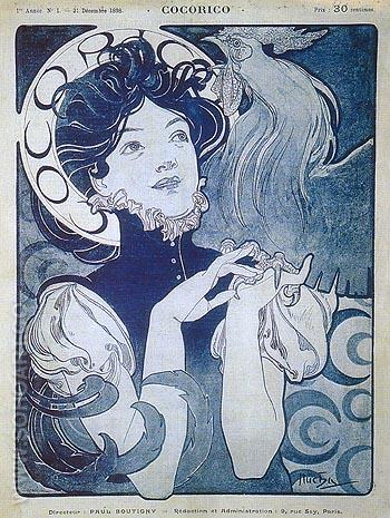 Cocorico 1898 - Alphonse Mucha reproduction oil painting