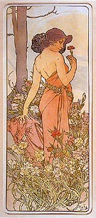 Carnation 1898 - Alphonse Mucha reproduction oil painting