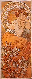 Topaz - Alphonse Mucha reproduction oil painting