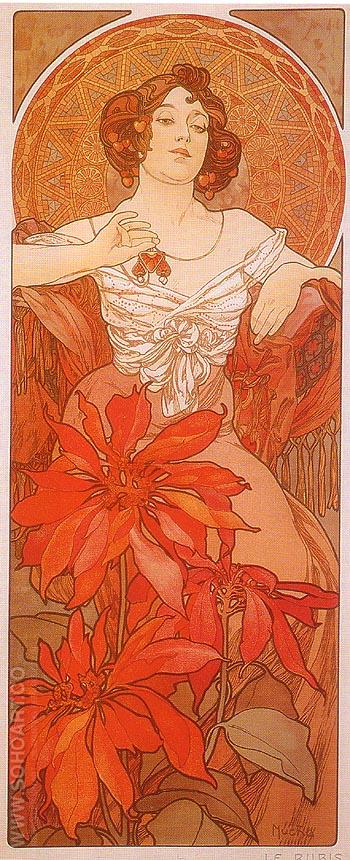 Ruby - Alphonse Mucha reproduction oil painting