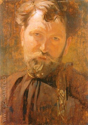 Self Portrait 1899 - Alphonse Mucha reproduction oil painting