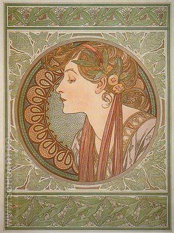 Laurel 1901 - Alphonse Mucha reproduction oil painting