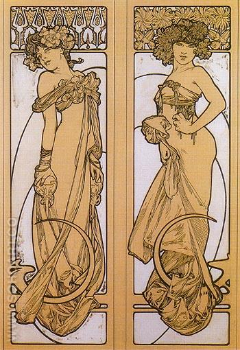 Tow Women Standing 1902 - Alphonse Mucha reproduction oil painting