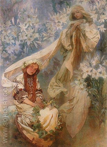 Madonna of the Lilies 1905 - Alphonse Mucha reproduction oil painting
