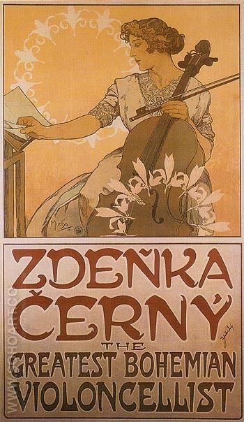 Zdenka Cerny The Greatest Bohemian Violoncellist 1913 - Alphonse Mucha reproduction oil painting