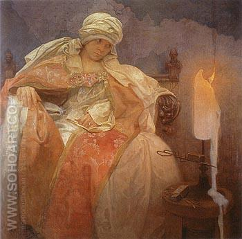 Woman with Burning Candle 1933 - Alphonse Mucha reproduction oil painting