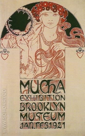 Drawing for a Poster Announcing the Mucha Exhibition at the brooklyn Museum 1921 - Alphonse Mucha reproduction oil painting