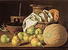Still Life with Melon and Pears 1770 - Luis Melendez reproduction oil painting