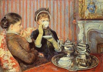 The Tea c1879 - Mary Cassatt reproduction oil painting