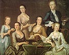 The Greenwood Lee Family c1747 - John Greenwood reproduction oil painting