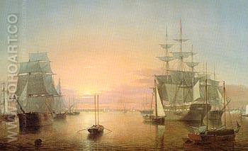 Boston Harbour c1850 - Fitz Hugh Lane reproduction oil painting