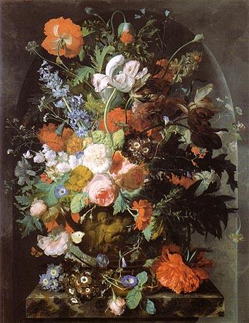 Vase of Flowers in a Niche c1732 - Jan Van Huysum reproduction oil painting