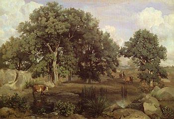 Forest Fontainbleau c1846 - Jean-baptiste Corot reproduction oil painting