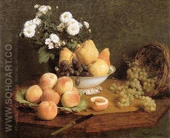 Flowers and Fruit on a Table 1865 - I Fantin-latour reproduction oil painting