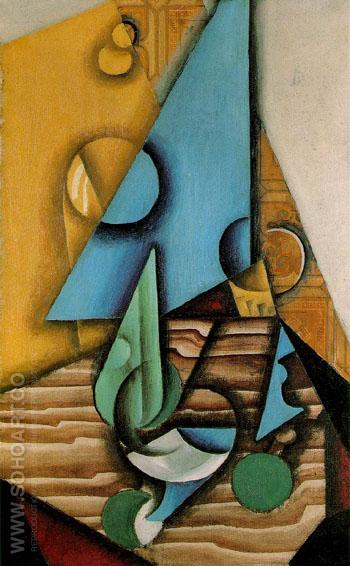 Bottle and Glass on a Table c1912 - Juan Gris reproduction oil painting