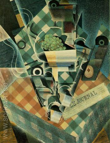 Still Life with Checked Tablecloth 1915 - Juan Gris reproduction oil painting