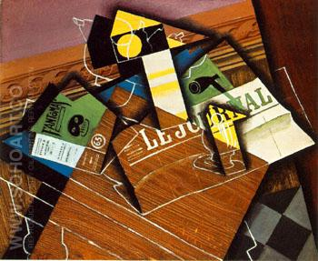 Fantomas Pipe and Newspaper - Juan Gris reproduction oil painting
