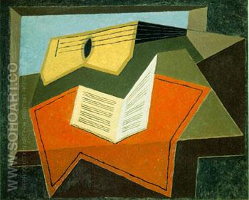 Guitar and Music Paper - Juan Gris reproduction oil painting