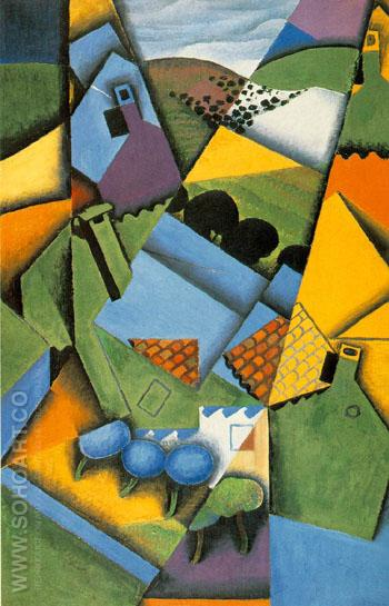 Landscape with Houses at Ceret 1913 - Juan Gris reproduction oil painting