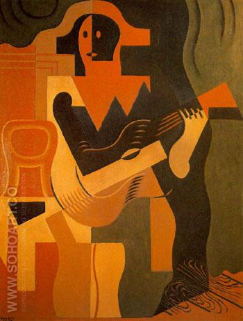 Harlquin with Guitar 1919 - Juan Gris reproduction oil painting