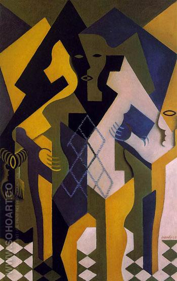 Harlequin at a Table 1919 - Juan Gris reproduction oil painting