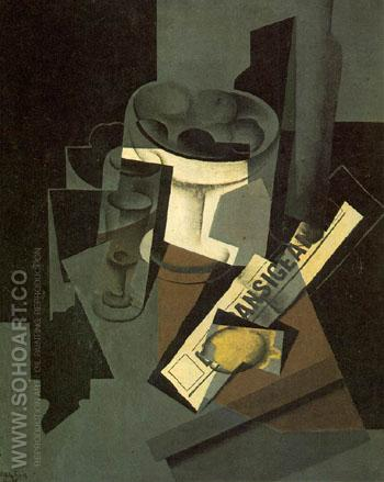 Fruit Dish Glass and Lemon Still Life with Newspaper 1915 - Juan Gris reproduction oil painting