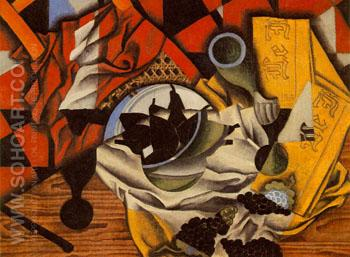 Pears and Grapes on a Table 1913 - Juan Gris reproduction oil painting