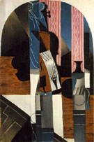 Untitled Violin and Ink Bottle on a Table - Juan Gris reproduction oil painting