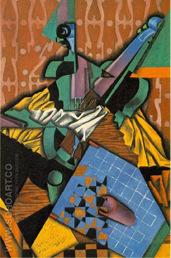 Violin and Checkerboard 1913 - Juan Gris reproduction oil painting