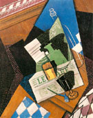 Water bottle, Bottle and Fruit Dish 1915 - Juan Gris reproduction oil painting