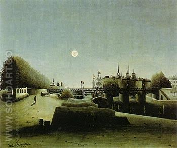 View of the Ile Saint Louis seen from Port Saint Nicolas 1888 - Henri Rousseau reproduction oil painting