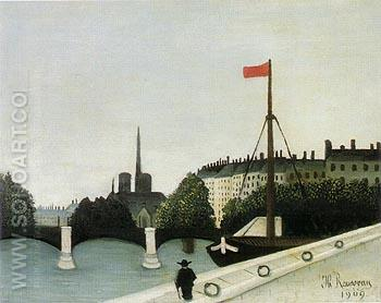 View of the Ile Saint Louis seen from the Quai Henri IV 1901 - Henri Rousseau reproduction oil painting