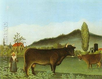 Landscape with Cattle - Henri Rousseau reproduction oil painting