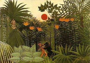Gorilla and Indian 1910 - Henri Rousseau reproduction oil painting