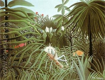 Horse Attacked by a Jaguar 1910 - Henri Rousseau reproduction oil painting